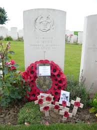 George Scott's grave in St Souplet British Cemetery